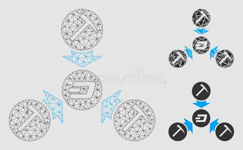 Dash Mining Pool Vector Mesh Carcass Model and Triangle Mosaic Icon. Mesh Dash mining pool model with triangle mosaic icon. Wire carcass triangular mesh of Dash vector illustration