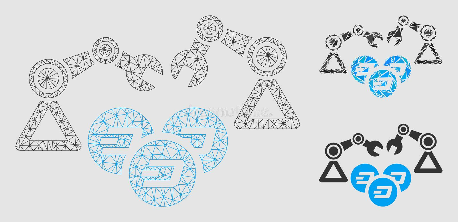 Dash Mining Robotics Vector Mesh Carcass Model and Triangle Mosaic Icon. Mesh Dash mining robotics model with triangle mosaic icon. Wire frame polygonal mesh of royalty free illustration