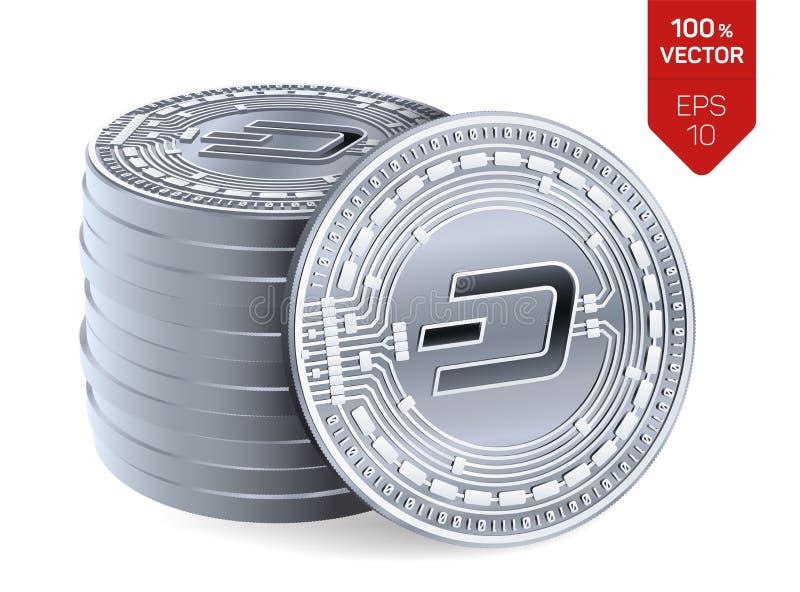 dash pièces de monnaie 3D physiques isométriques Devise de Digital Cryptocurrency Pile de pièces en argent avec le symbole de tir illustration libre de droits