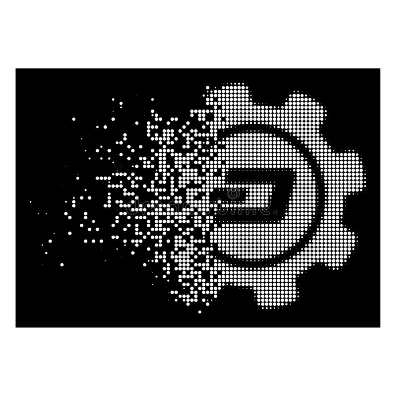 Bright Destructed Pixel Halftone Dash Settings Gear Icon. Dash settings gear icon with dispersed style on black background. White pieces are grouped into vector vector illustration
