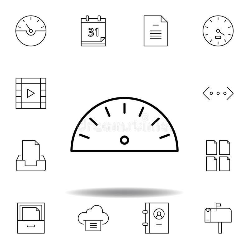 Dash speed widget outline icon. Detailed set of unigrid multimedia illustrations icons. Can be used for web, logo, mobile app, UI. UX on white background royalty free illustration