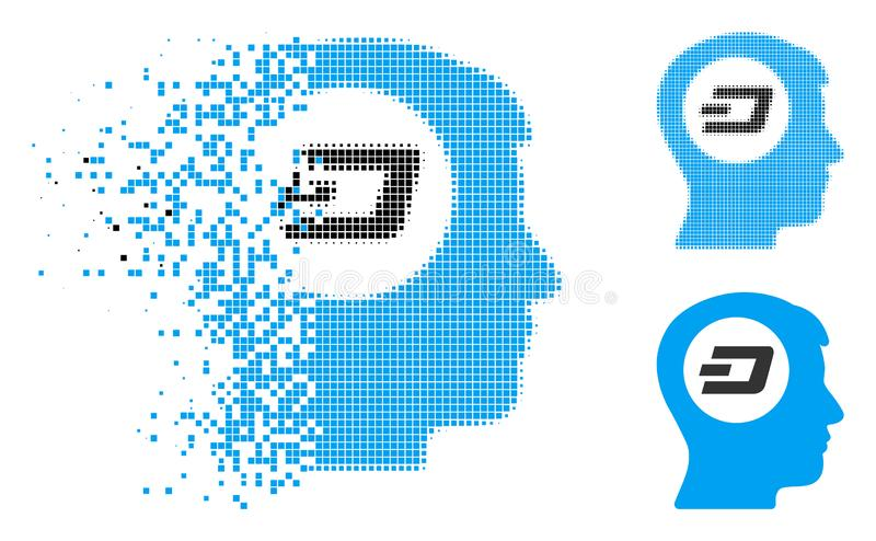 Shredded Pixelated Halftone Dash Think Icon. Dash think icon in dissipating, pixelated halftone and undamaged entire versions. Points are composed into vector royalty free illustration