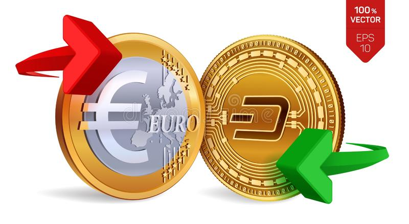 Dash to Euro currency exchange. Dash. Euro coin. Cryptocurrency. Golden coins with Dash and Euro symbol with green and. Red arrows. 3D isometric Physical coins vector illustration