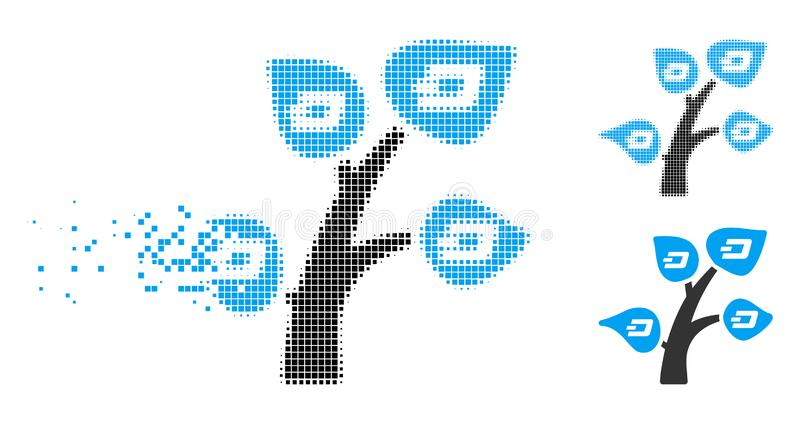 Moving Pixelated Halftone Dash Tree Icon. Dash tree icon in disappearing, pixelated halftone and undamaged entire versions. Fragments are organized into vector vector illustration