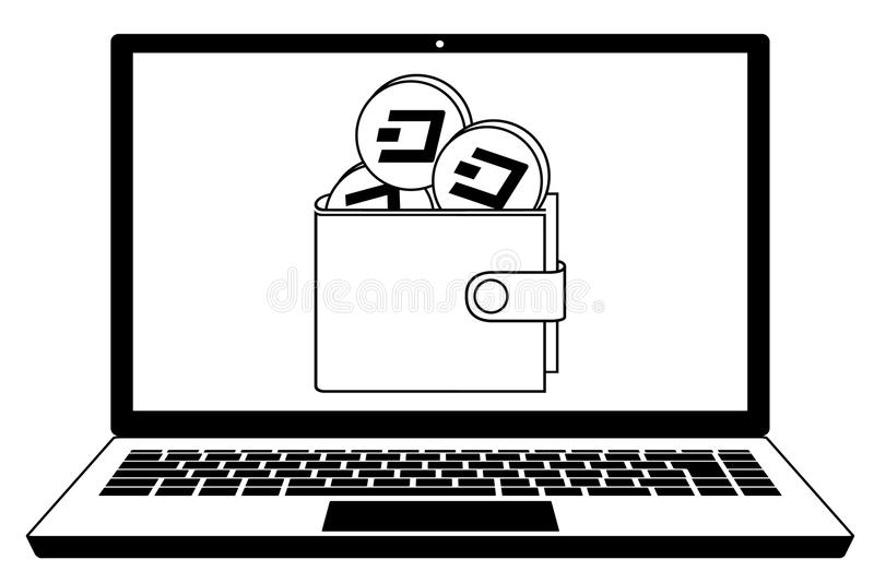 Dash wallet in the screen laptop. Design concept black and white, crypto currensy in a wallet vector illustration