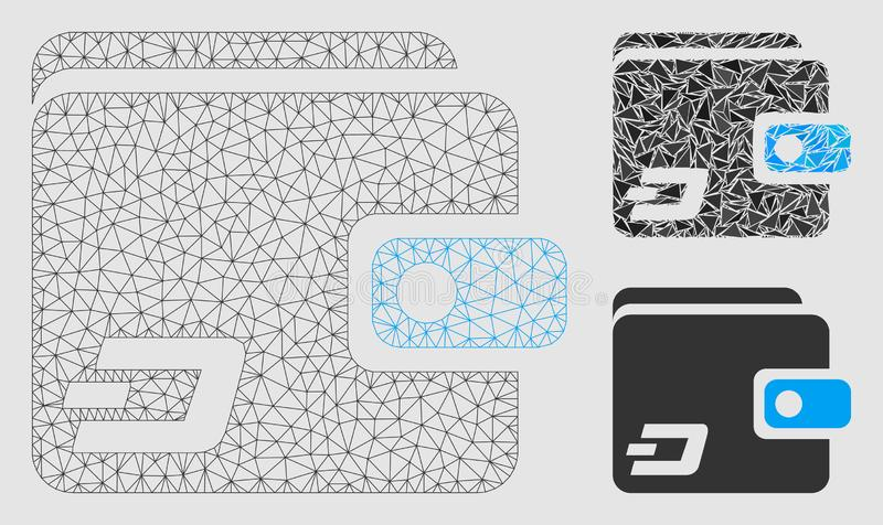 Dash Wallet Vector Mesh 2D Model and Triangle Mosaic Icon. Mesh Dash wallet model with triangle mosaic icon. Wire frame polygonal network of Dash wallet. Vector royalty free illustration