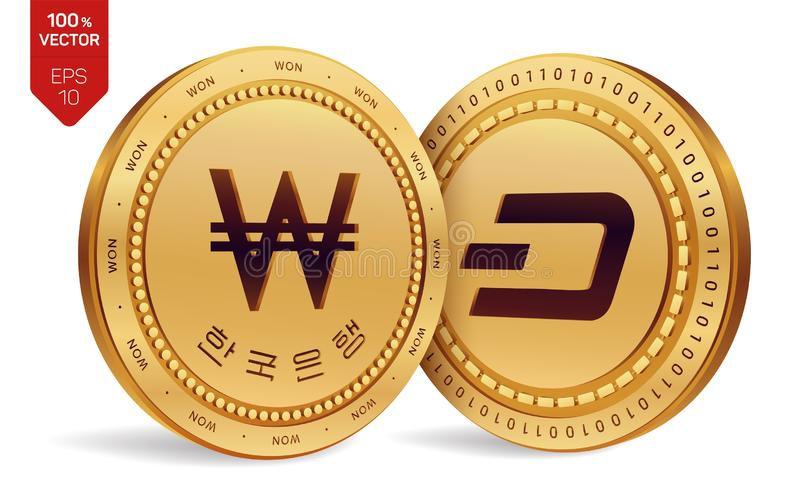 Dash. Won. 3D isometric Physical coins. Digital currency. Korea Won coin with the text in Korean Bank of Korea. Cryptocurrency. Go. Lden coins with Dash and Won royalty free illustration