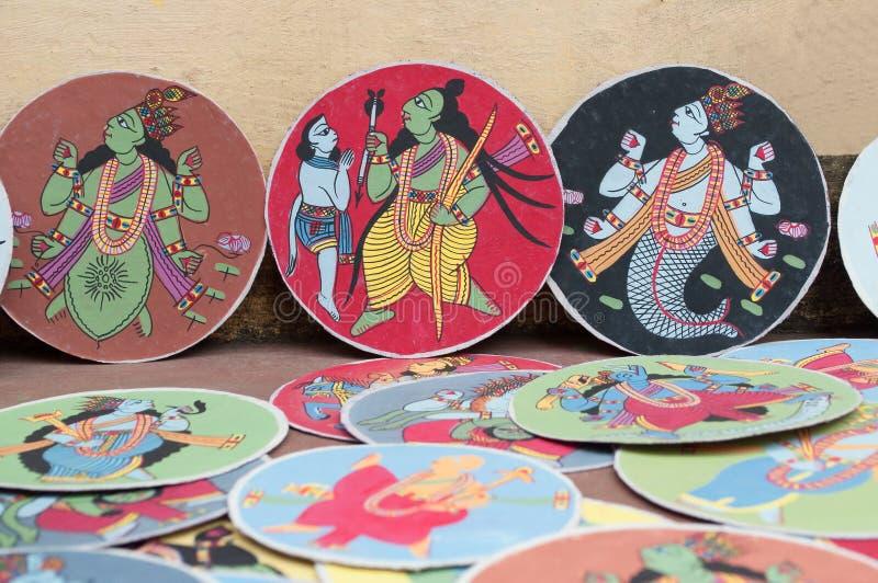Dashavatara cards, artwork, bishnupur, India. BISHNUPUR, WEST BENGAL / INDIA - OCTOBER 24, 2013: Dashavatara cards. They are famous artwork, depicting ten stock image