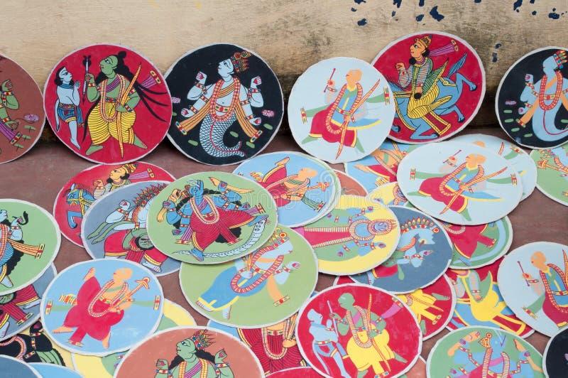 Dashavatara cards, artwork, bishnupur, India. BISHNUPUR, WEST BENGAL / INDIA - OCTOBER 24, 2013: Dashavatara cards. They are famous artwork, depicting ten stock images