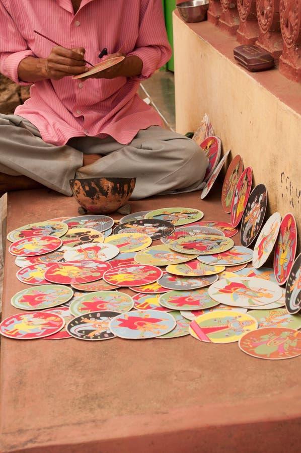Dashavatara cards, artwork, bishnupur, India. BISHNUPUR, WEST BENGAL / INDIA - OCTOBER 24, 2013: Dashavatara cards in making - famous artwork, depicting ten stock photo