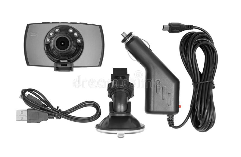 Dashboard camera isolated on white stock photo