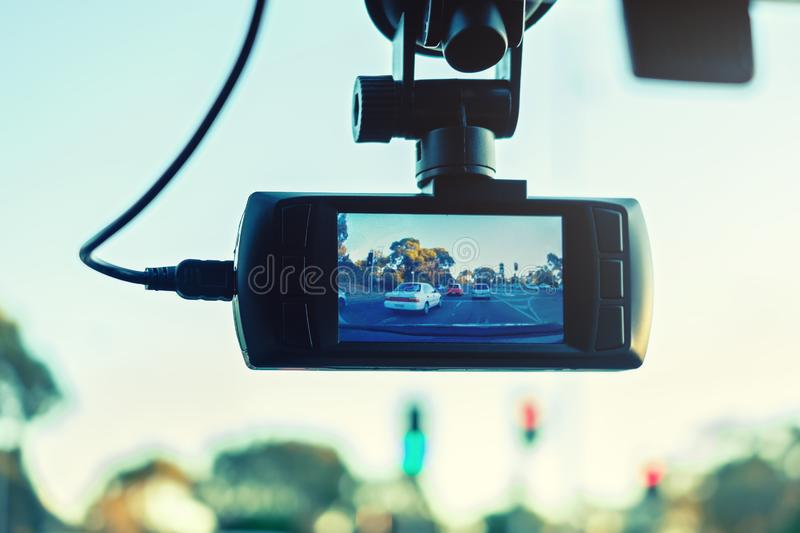 Car dashboard camera in action stock photography