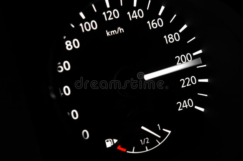Dashboard of car going fast. High speed concept royalty free stock photos