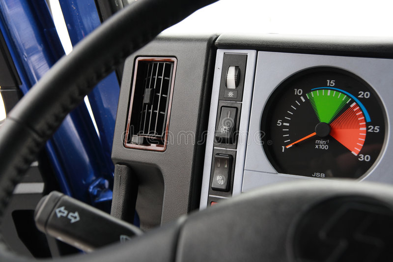 Dashboard of chinese truck. royalty free stock image
