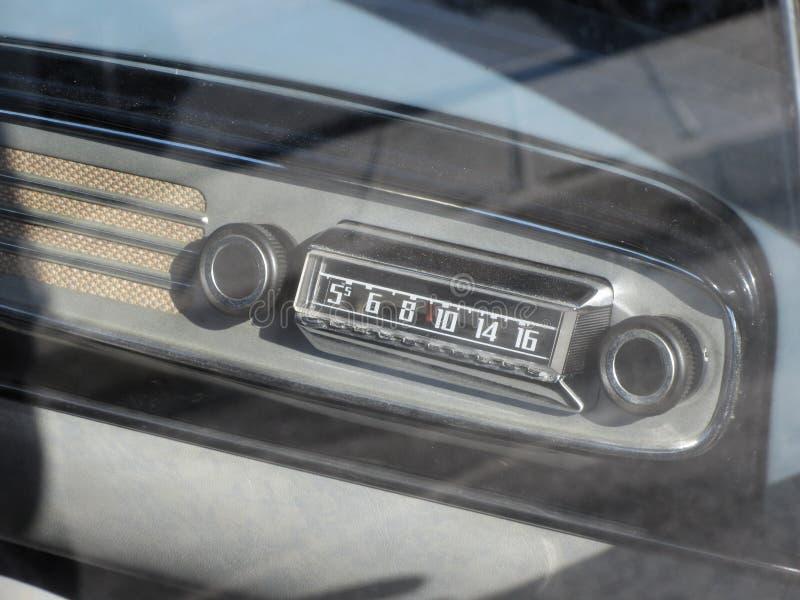 Dashboard of a classic vintage car . Car radio close up . Nostalgia concept stock image