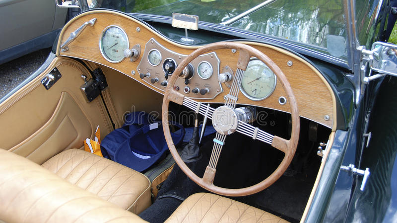 Dashboard of an english roadster #3. Dashboard of an open english roadster classic car royalty free stock images