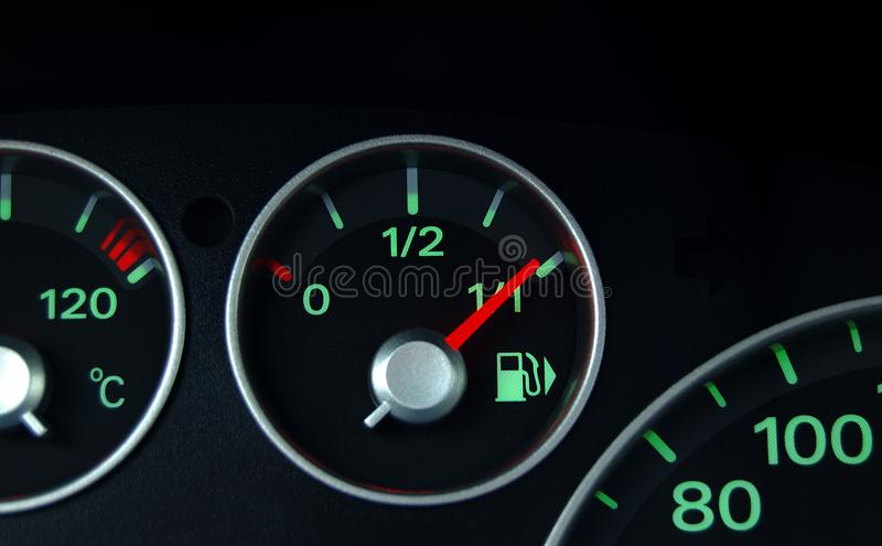 Dashboard and fuel indicator royalty free stock photos