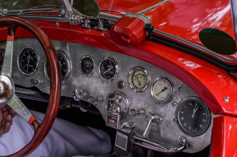 LVIV, UKRAINE - JUNE 2018: The dashboard and gauges of the old vintage retro car stock photo