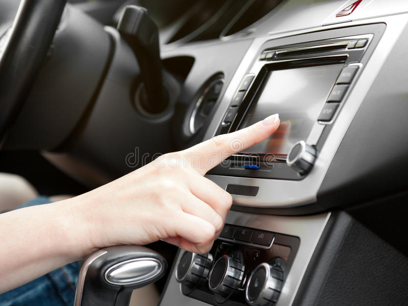 Dashboard with gps panel and tv/dvd/audio system stock photos