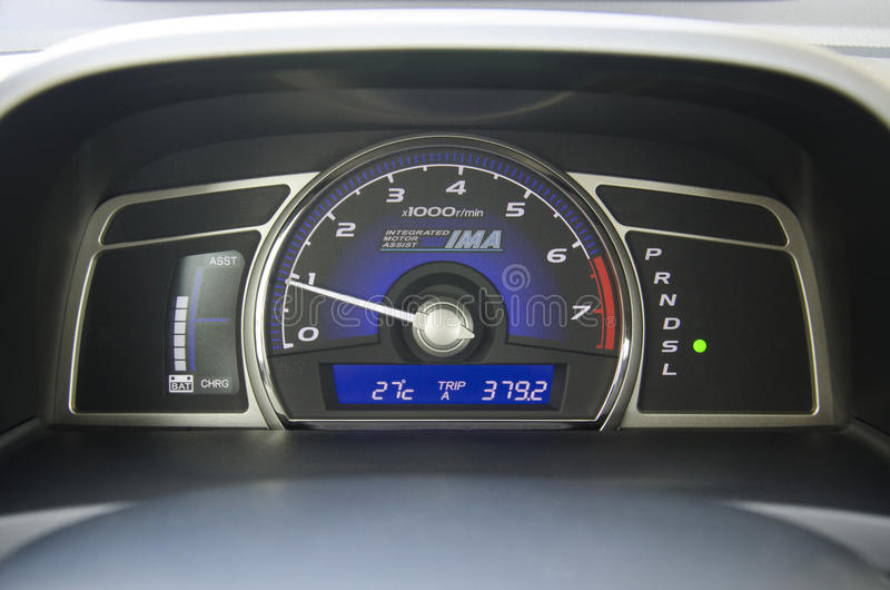 Dashboard of Hybrid Car stock images