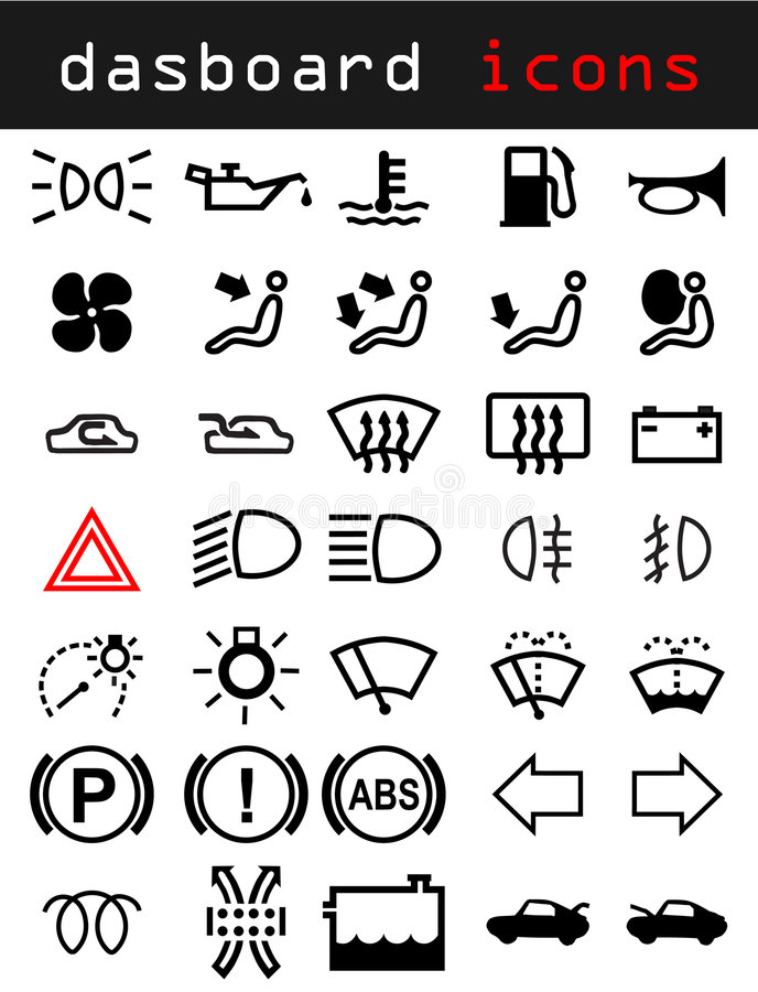 Dashboard icons. Icons from the dashboard of a car