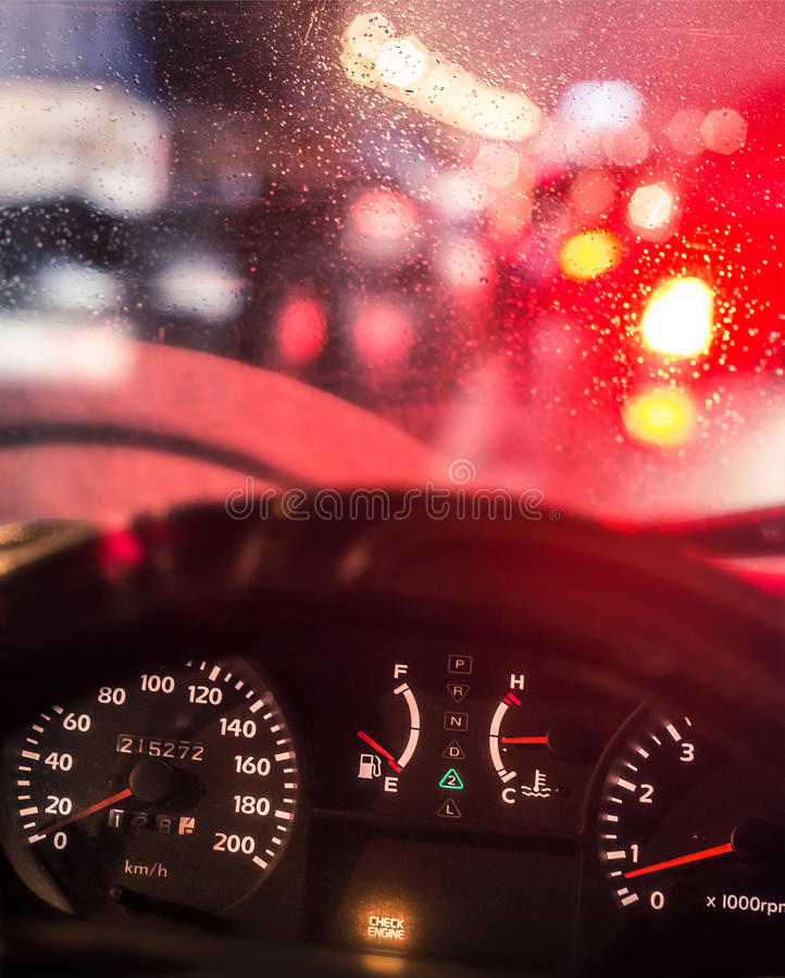 Dashboard. Old car dashboard with alarming Check Engine royalty free stock image