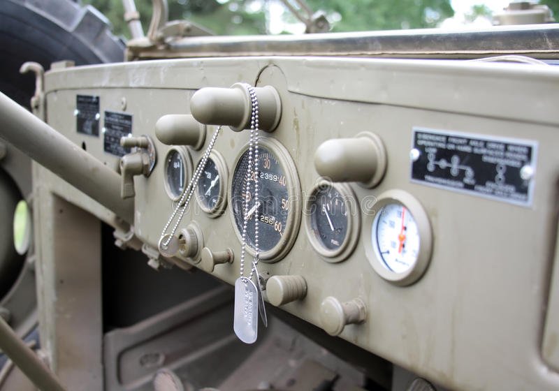 Dashboard of an old WWII military truck royalty free stock image