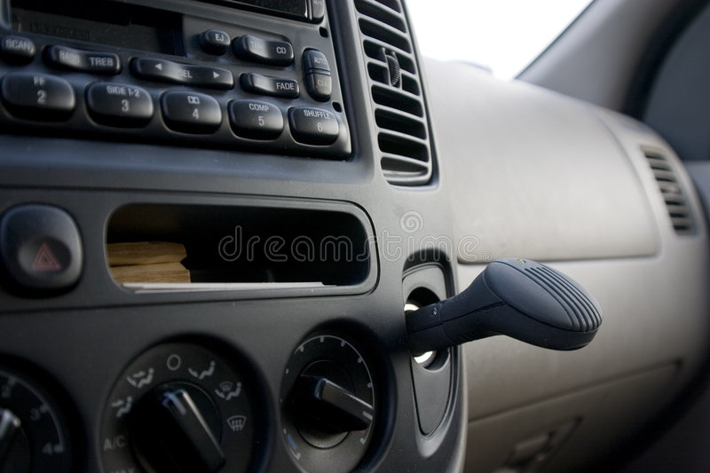 Dashboard, radio and the plug in ionizer royalty free stock images