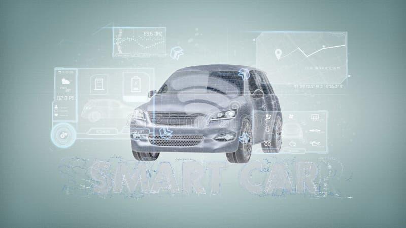 Dashboard smartcar interface op het 3d teruggeven als achtergrond vector illustratie