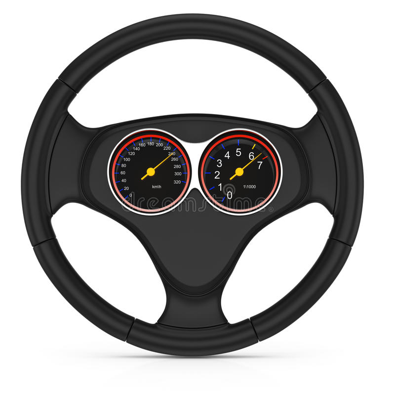 Download Dashboard On Steering Wheel Royalty Free Stock Image - Image: 26750636