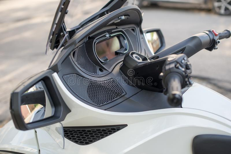 Dashboard, Turn signal for Trike or tricycle vehicle Spyder. Dashboard Trike or tricycle vehicle Spyder stock photography