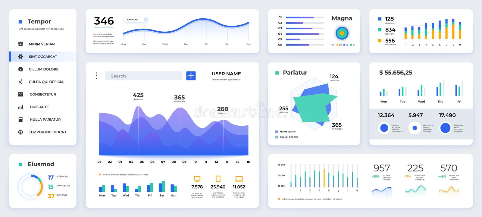 Dashboard UI. Modern presentation with data graphs and HUD diagrams, clean and simple app interface. Vector abstract web vector illustration
