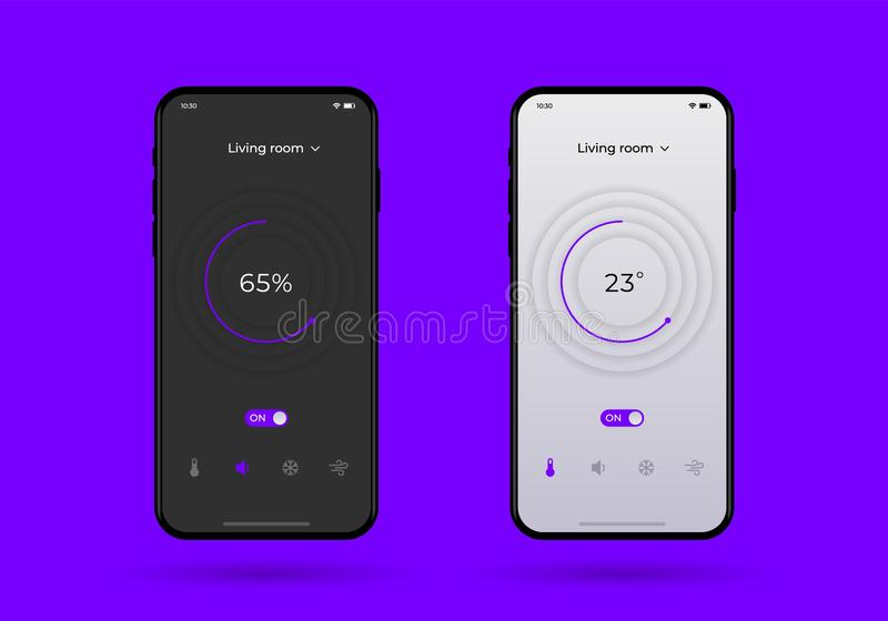 Dashboard UI and UX Kit. Control center design. Temperature control in the room. vector illustration
