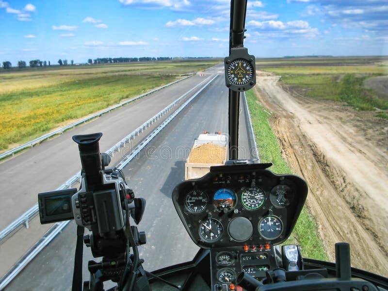 Dashboard van helikopter stock fotografie
