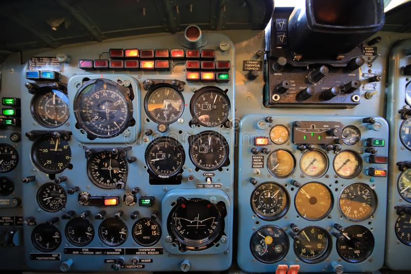 Dashboard vintage cockpit airplane close up royalty free stock photo