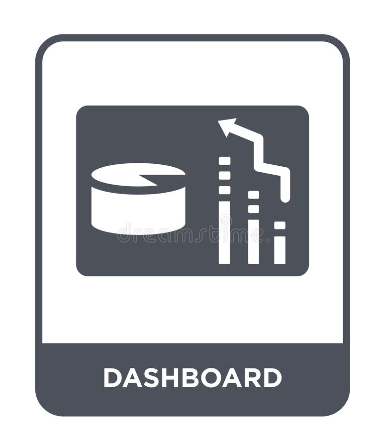 dashboardpictogram in in ontwerpstijl Dashboardpictogram op witte achtergrond wordt geïsoleerd die eenvoudige en moderne vlakte v stock illustratie