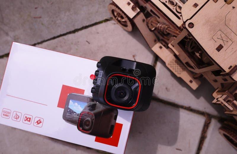 DashCam для автомобиля Пакуя устройство стоковая фотография rf