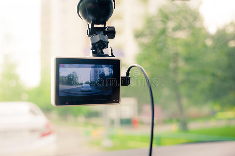 Dashcam on a windshield. Recording stock photos
