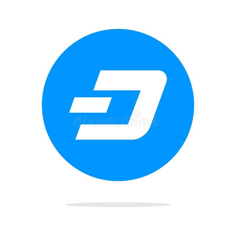 Dashcoin象 传染媒介例证样式是与蓝色变形的一个平的偶象dashcoin标志 设计为网和软件 皇族释放例证