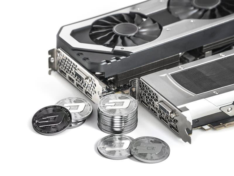 Dashcoinmijnbouw Gebruikend krachtige Videokaarten aan mijn en verdien cryptocurrencies vector illustratie