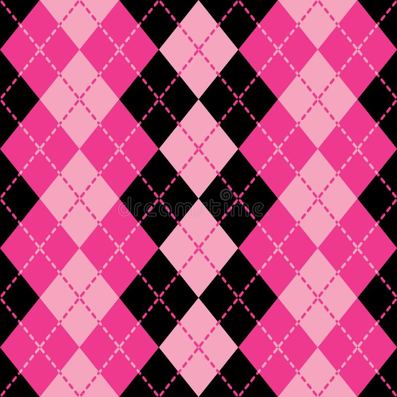 Dashed Argyle Pattern in Pink and Black stock illustration