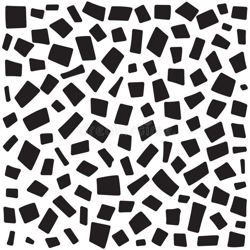 Dashed line abstract seamless pattern. Repeated rectangles texture. Black and white background stock illustration