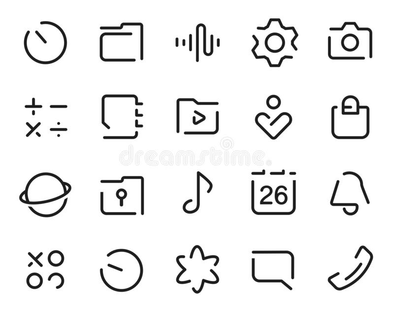 Dashed Outline universal smartphone ui Icons set. Editable user interface stroke icon. Vector thin line vector icon set. For web design and website application stock illustration