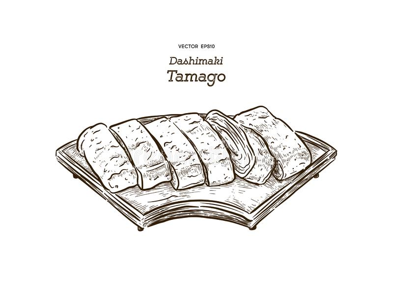 dashimaki tamago, japanisches gerolltes Omelett, Vektor des Handabgehobenen betrages vektor abbildung