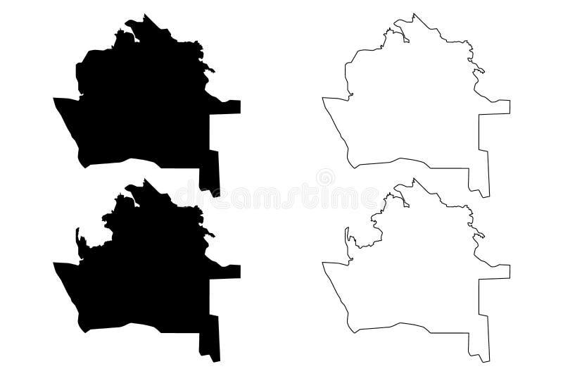 Dasoguz Region Republic of Turkmenistan, Districts of Turkmenistan map vector illustration, scribble sketch Dashowuz Province. Map royalty free illustration