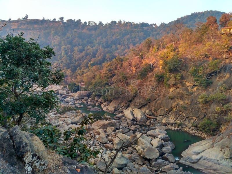 Dassam,兰契,印度美好的山景  免版税库存照片
