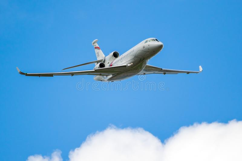 Dassault Falcon 8X business jet. LE BOURGET PARIS - JUN 20, 2019: New Dassault Falcon 8X business jet performing at the Paris Air Show france white fly aircraft stock photo