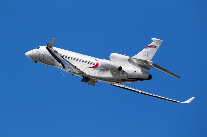 Dassault Falcon 8X business jet. LE BOURGET PARIS - JUN 21, 2019: New Dassault Falcon 8X business jet performing at the Paris Air Show france white fly aircraft stock photos