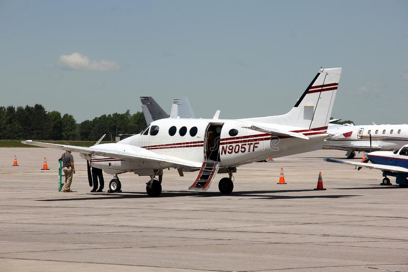 Dassault Falcon 2000EX at the service facilities of the Griffiss International Airport royalty free stock image