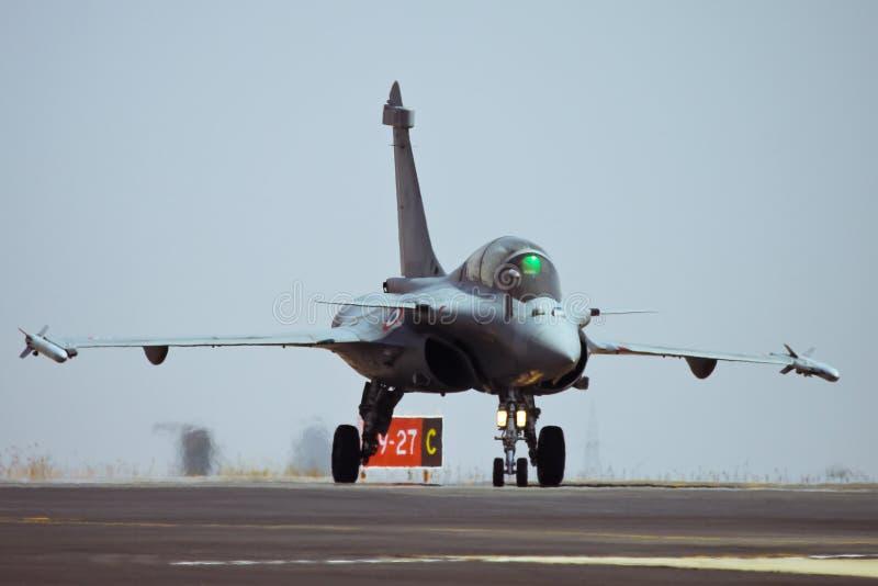 Dassault Rafale taxing after landing stock photos